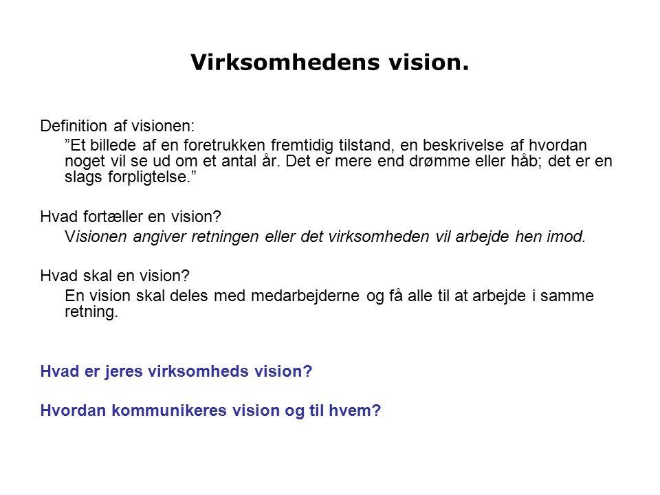Virksomhedens vision. Definition af visionen: