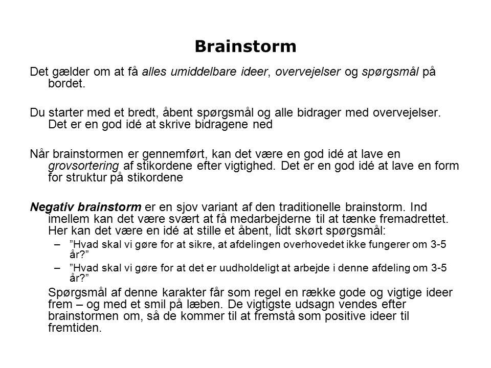 Brainstorm Det gælder om at få alles umiddelbare ideer, overvejelser og spørgsmål på bordet.