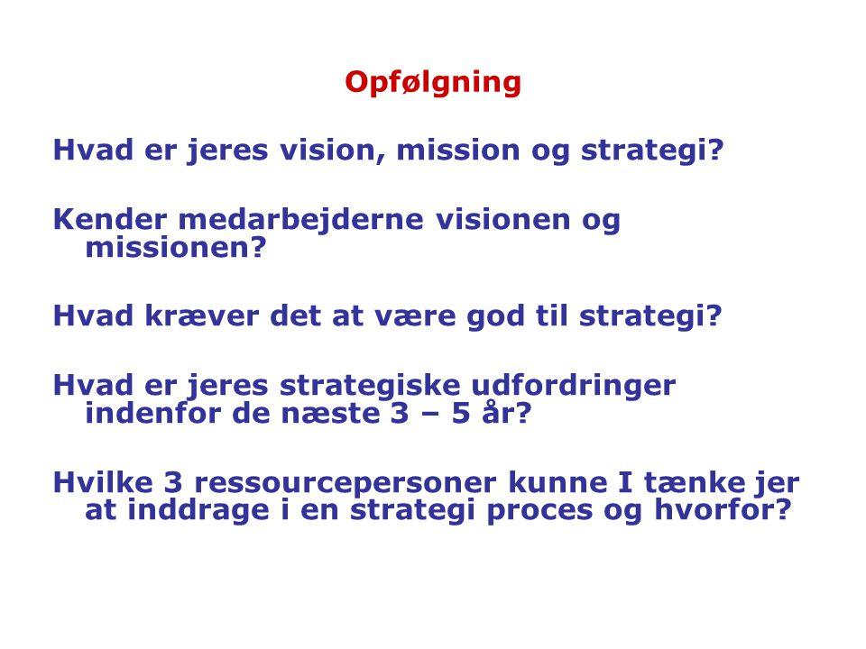 Opfølgning Hvad er jeres vision, mission og strategi Kender medarbejderne visionen og missionen Hvad kræver det at være god til strategi