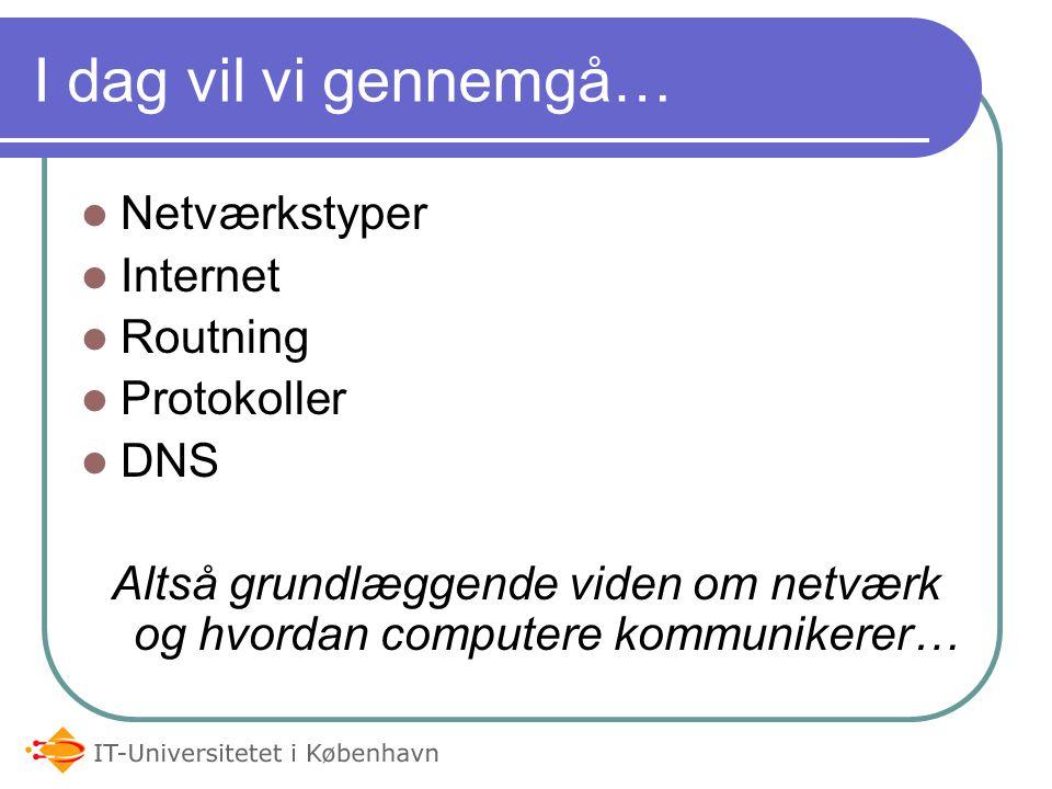 I dag vil vi gennemgå… Netværkstyper Internet Routning Protokoller DNS