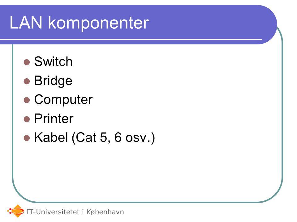 LAN komponenter Switch Bridge Computer Printer Kabel (Cat 5, 6 osv.)