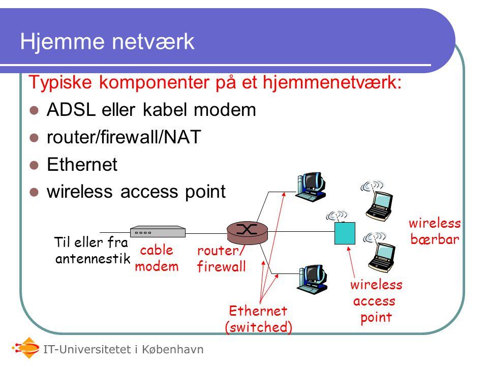 Hjemme netværk Typiske komponenter på et hjemmenetværk: