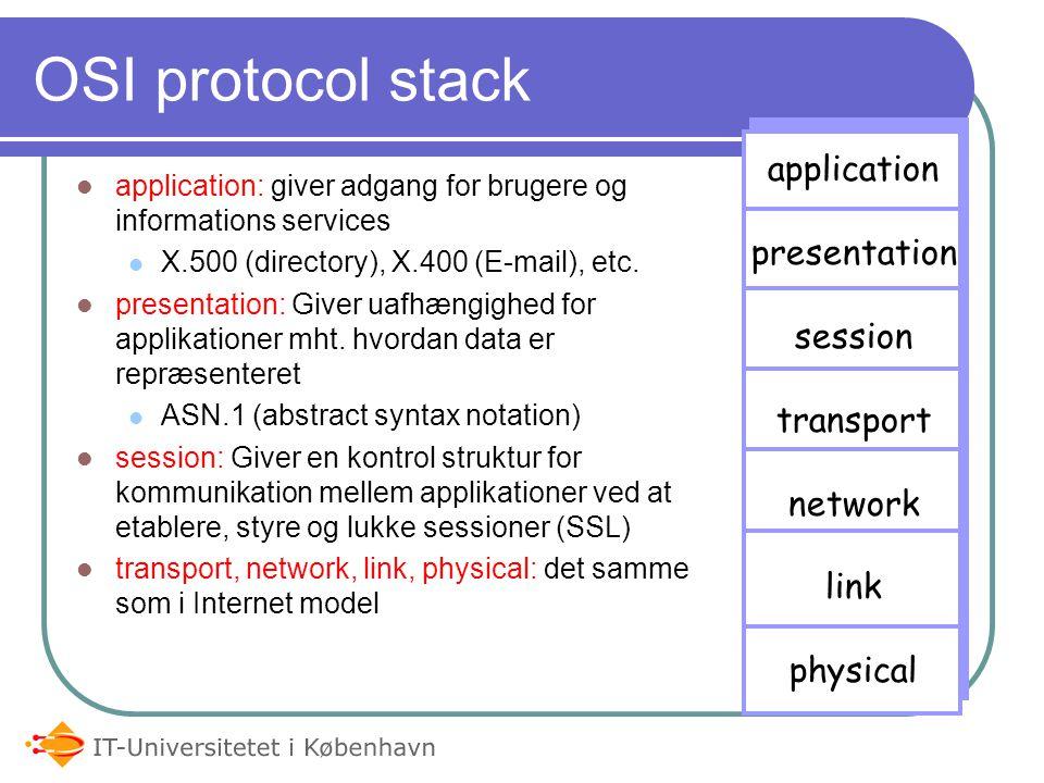 OSI protocol stack application presentation session transport network