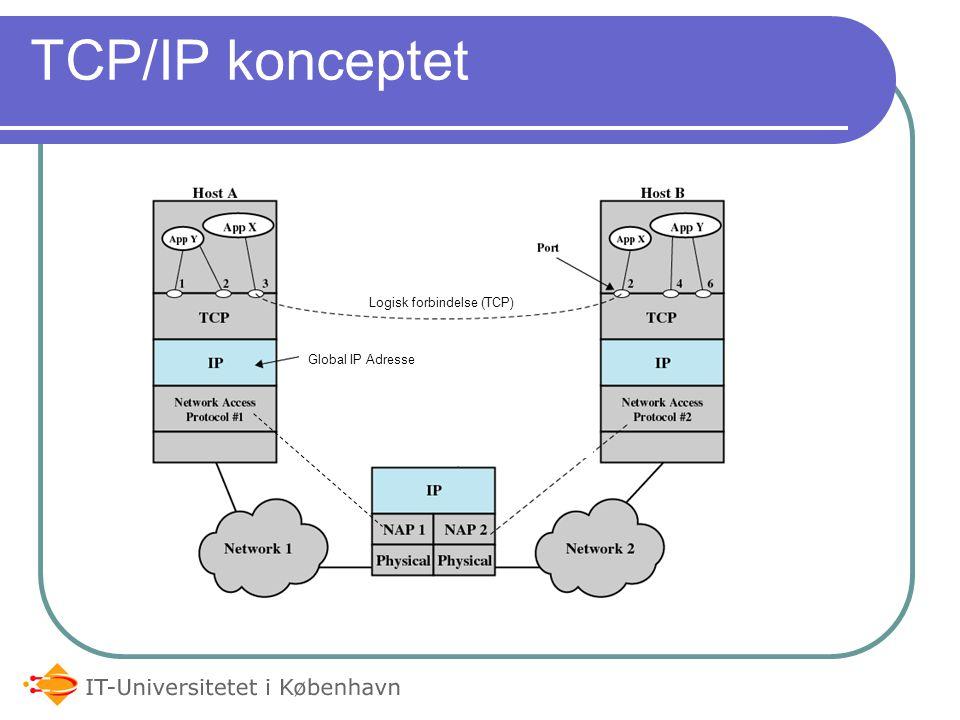 TCP/IP konceptet Logisk forbindelse (TCP) Global IP Adresse