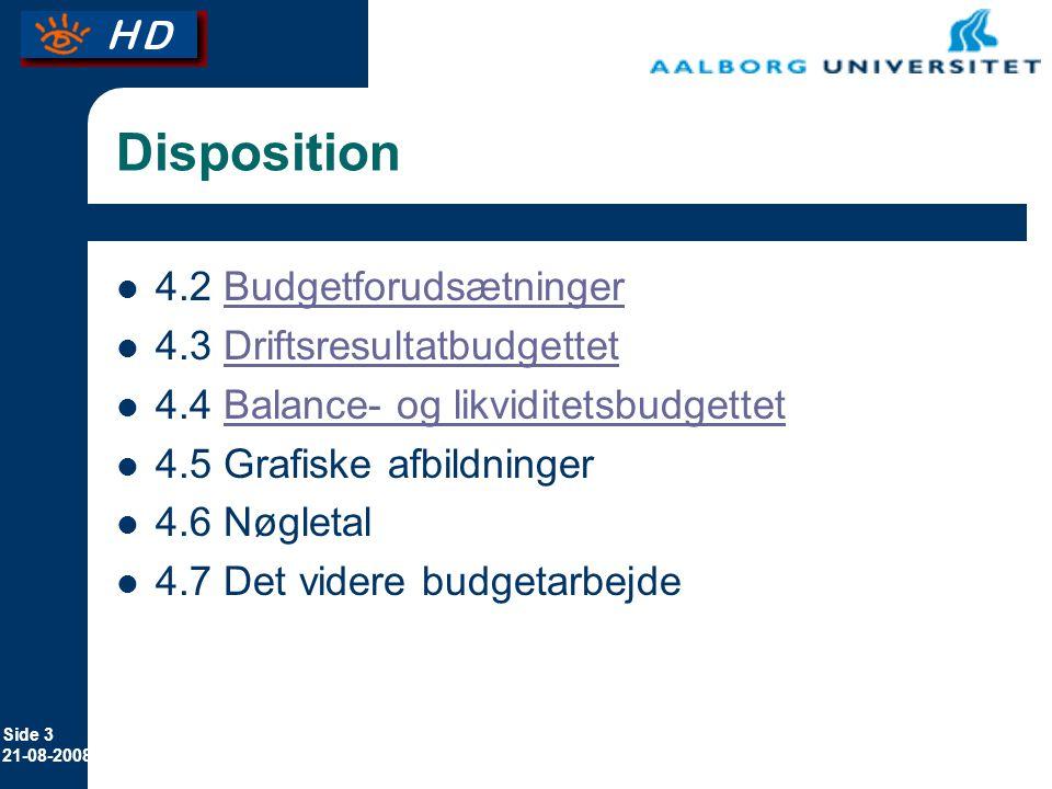 Disposition 4.2 Budgetforudsætninger 4.3 Driftsresultatbudgettet
