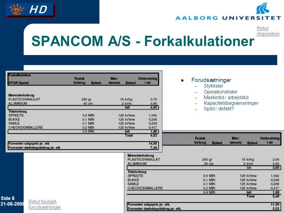 SPANCOM A/S - Forkalkulationer