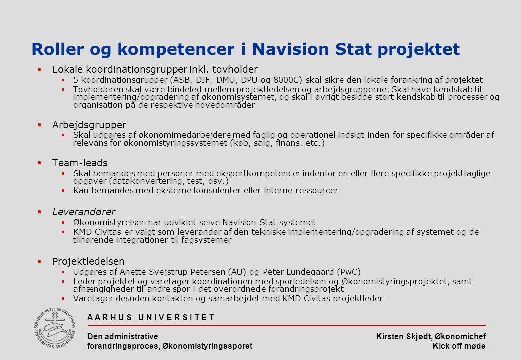 Roller og kompetencer i Navision Stat projektet