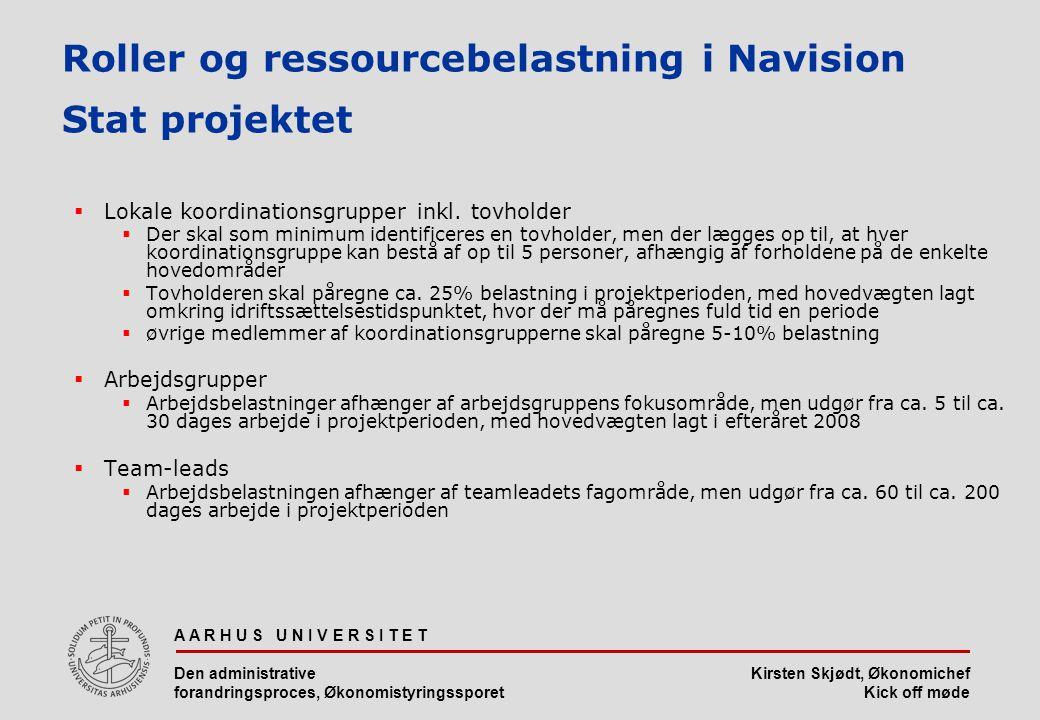 Roller og ressourcebelastning i Navision Stat projektet