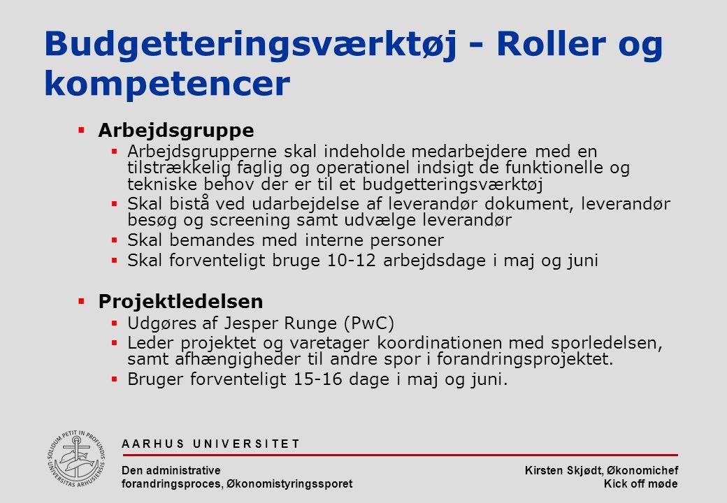Budgetteringsværktøj - Roller og kompetencer