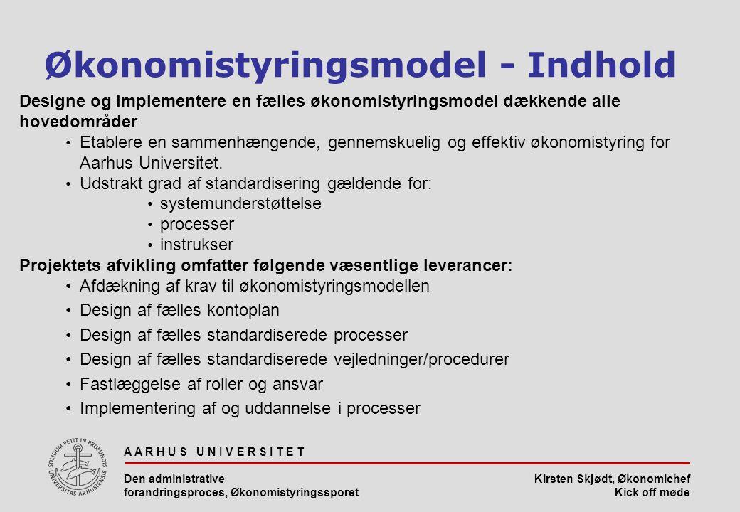 Økonomistyringsmodel - Indhold