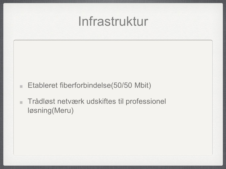 Infrastruktur Etableret fiberforbindelse(50/50 Mbit)