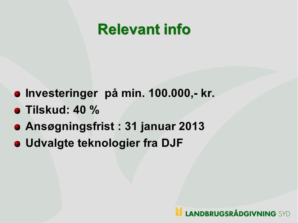Relevant info Investeringer på min. 100.000,- kr. Tilskud: 40 %