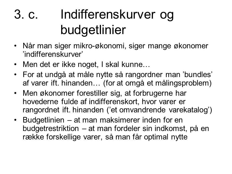 3. c. Indifferenskurver og budgetlinier