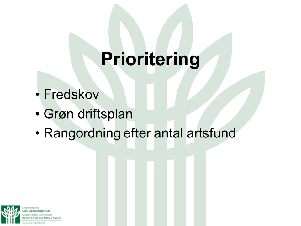 Fredskov Grøn driftsplan Rangordning efter antal artsfund