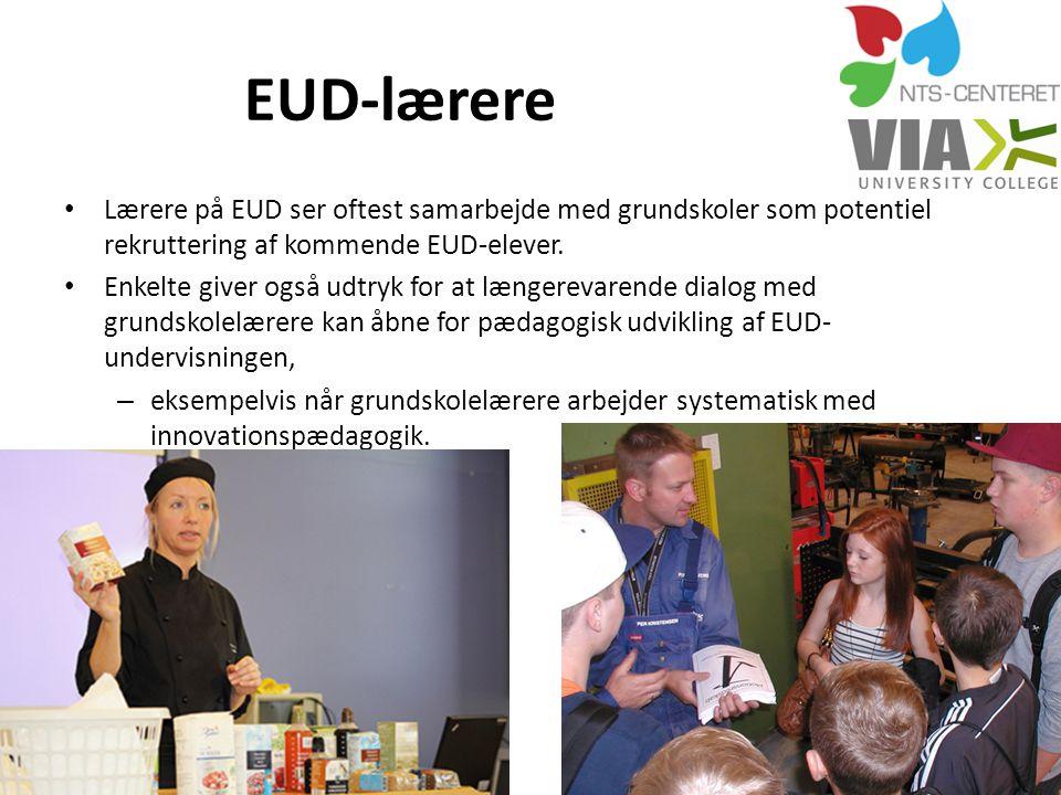 EUD-lærere Lærere på EUD ser oftest samarbejde med grundskoler som potentiel rekruttering af kommende EUD-elever.
