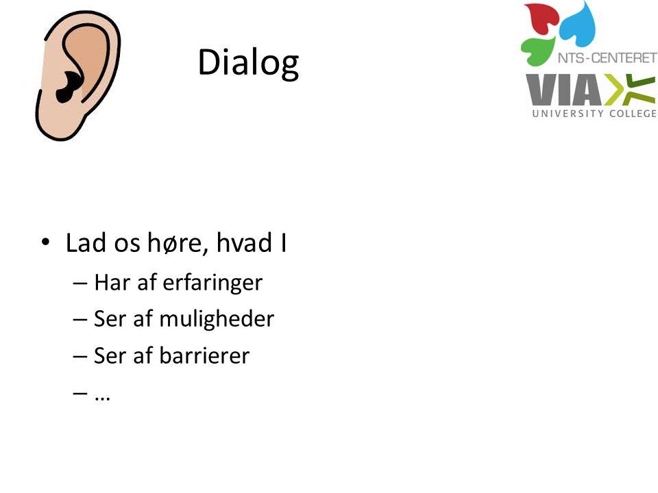 Dialog Lad os høre, hvad I Har af erfaringer Ser af muligheder