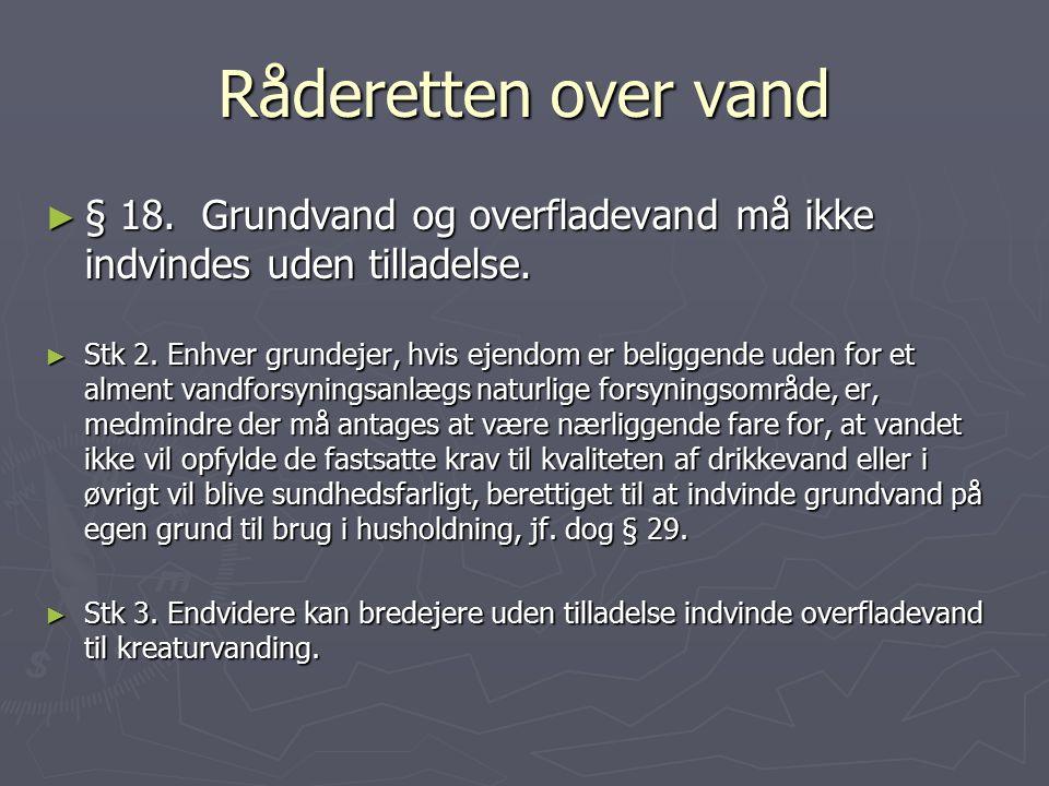 Råderetten over vand § 18. Grundvand og overfladevand må ikke indvindes uden tilladelse.