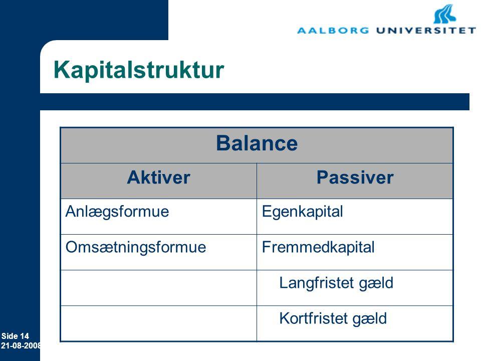 Kapitalstruktur Balance Aktiver Passiver Anlægsformue Egenkapital