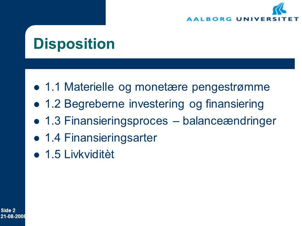 Disposition 1.1 Materielle og monetære pengestrømme
