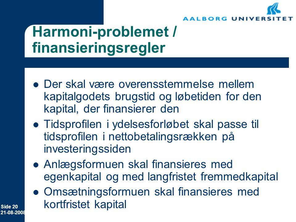Harmoni-problemet / finansieringsregler