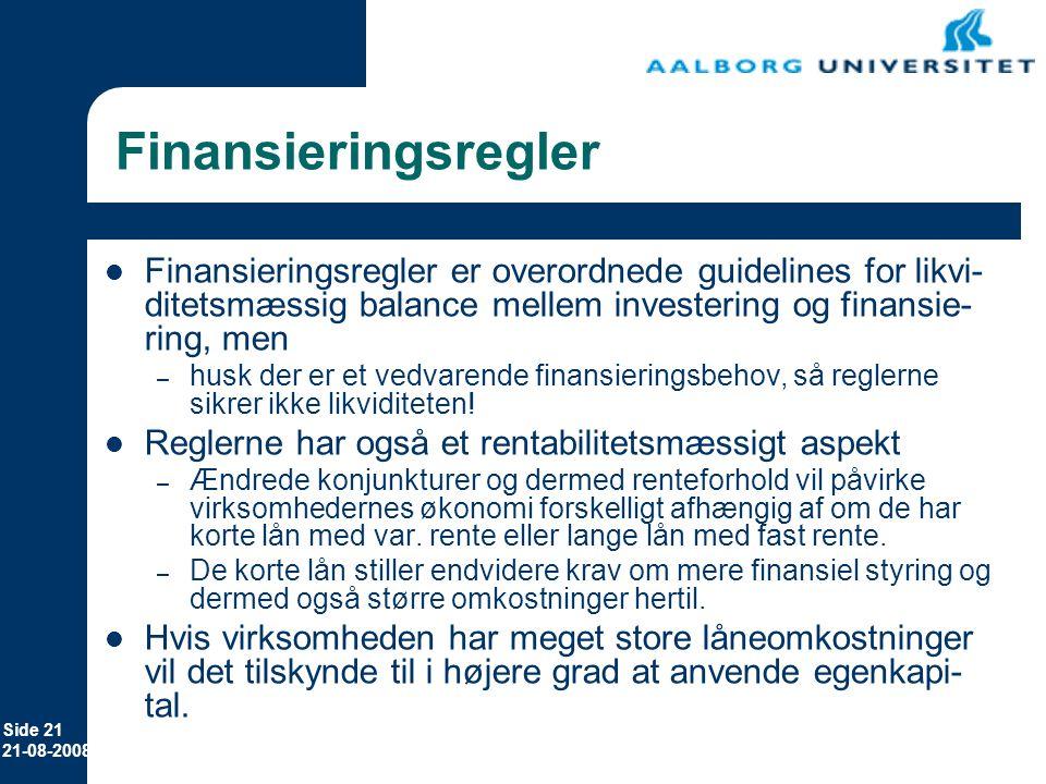 Erhvervsøkonomi 8. april 2017. Finansieringsregler.