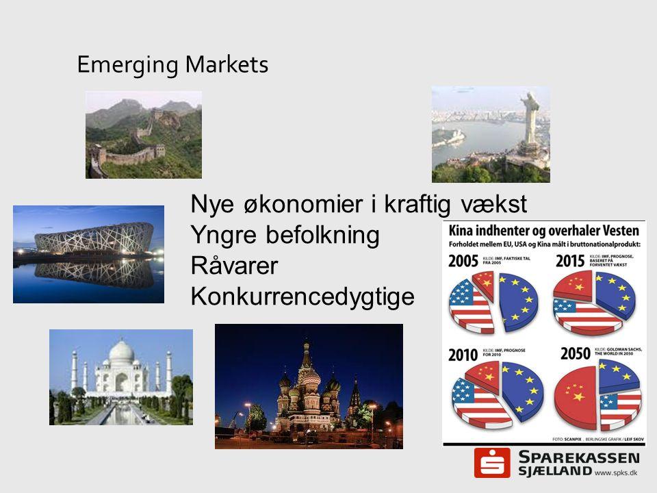 Emerging Markets Nye økonomier i kraftig vækst Yngre befolkning Råvarer Konkurrencedygtige