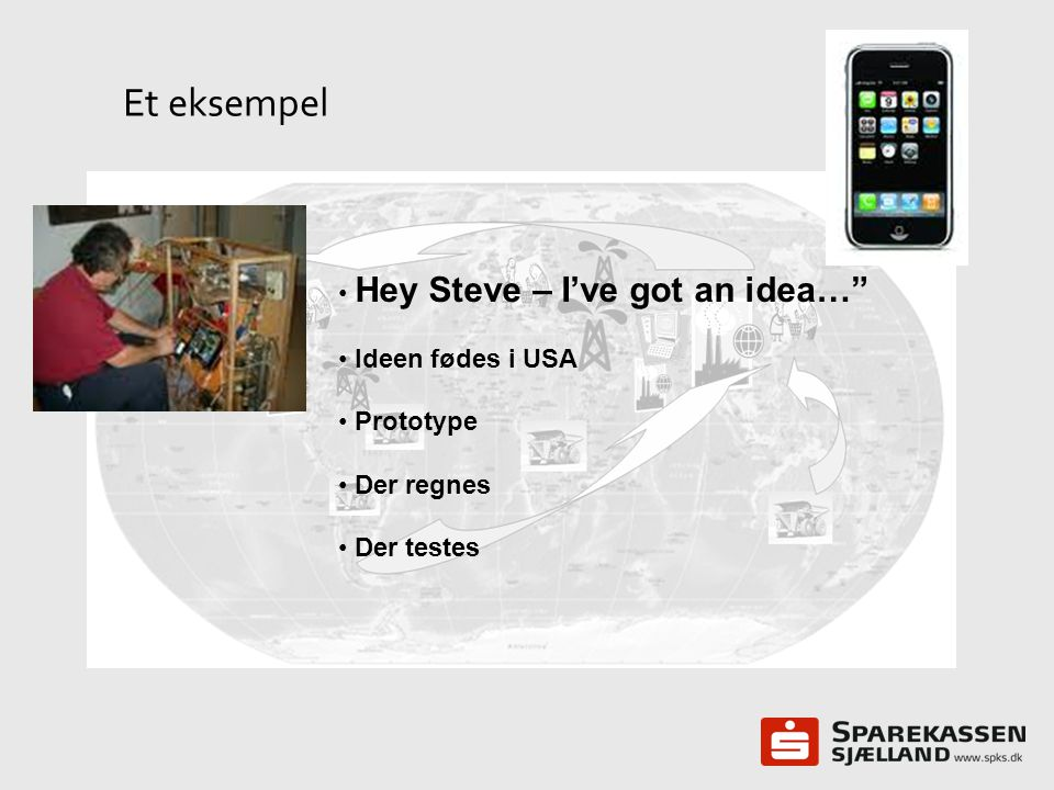 Et eksempel Hey Steve – I've got an idea… Ideen fødes i USA Prototype