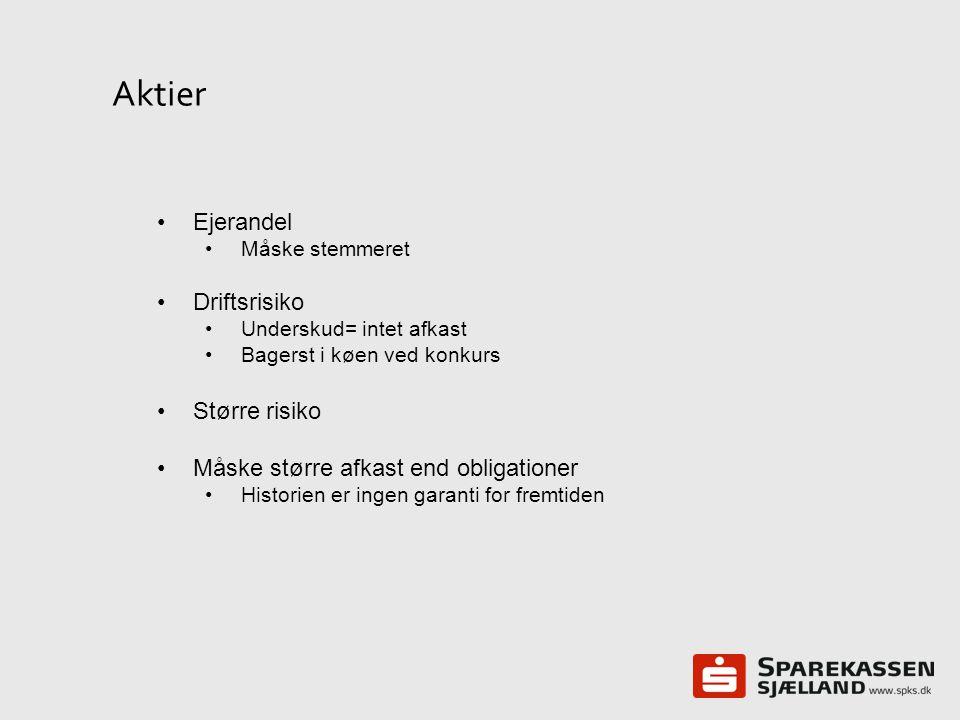 Aktier Ejerandel Driftsrisiko Større risiko