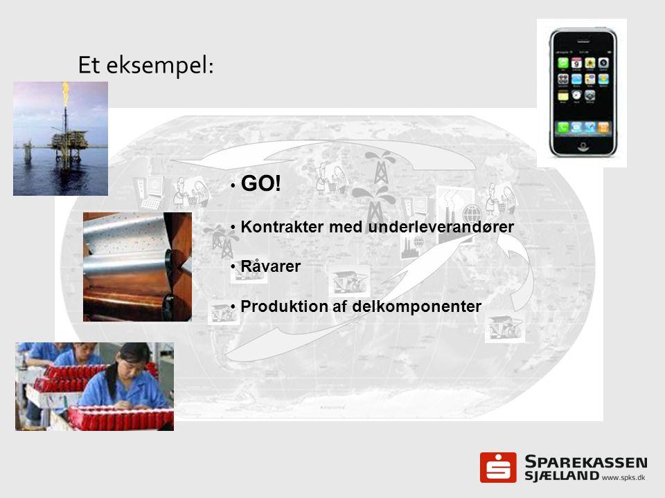 Et eksempel: GO! Kontrakter med underleverandører Råvarer