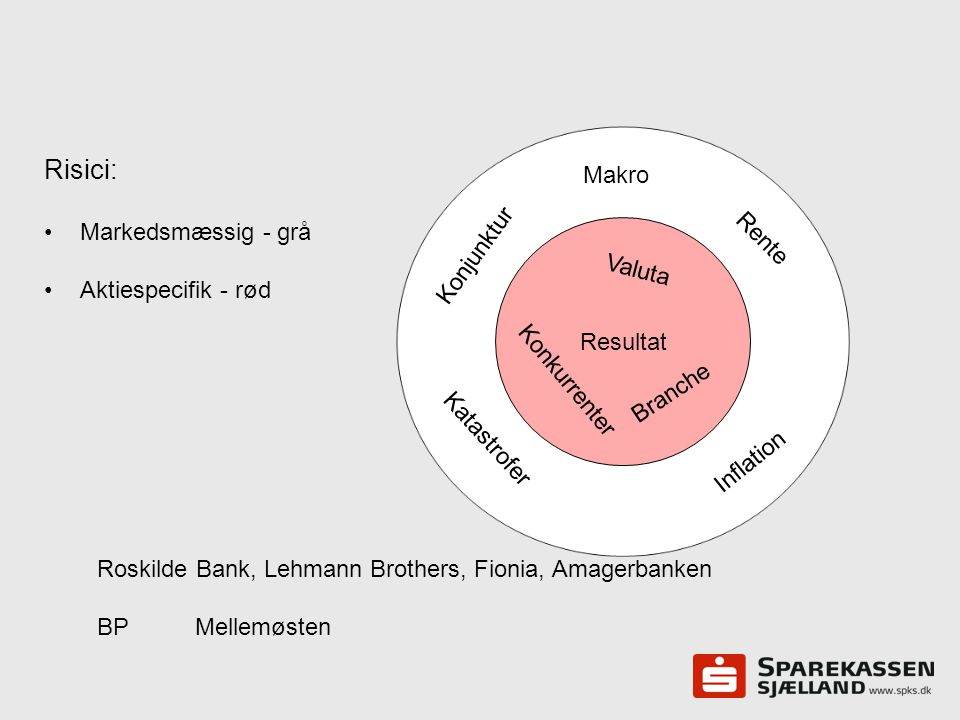 Risici: Makro Markedsmæssig - grå Aktiespecifik - rød Rente Konjunktur