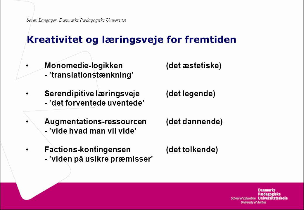 Søren Langager. Danmarks Pædagogiske Universitet Kreativitet og læringsveje for fremtiden