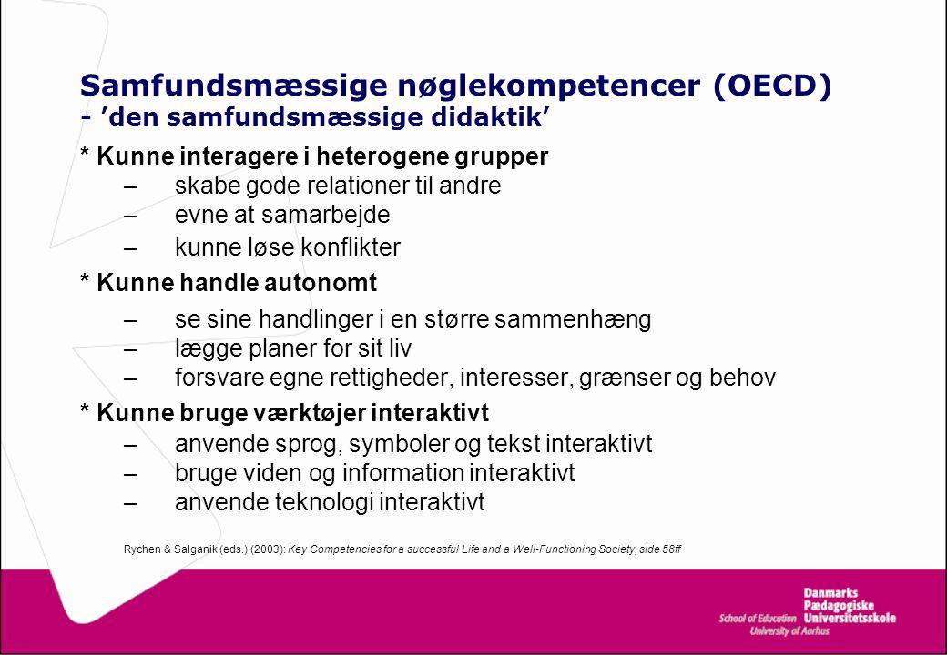 Samfundsmæssige nøglekompetencer (OECD) - 'den samfundsmæssige didaktik'