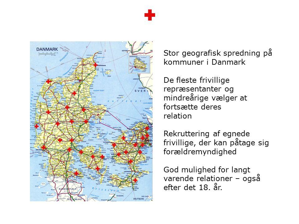 Stor geografisk spredning på kommuner i Danmark De fleste frivillige repræsentanter og mindreårige vælger at fortsætte deres relation Rekruttering af egnede frivillige, der kan påtage sig forældremyndighed God mulighed for langt varende relationer – også efter det 18.