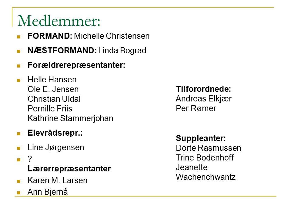 Medlemmer: FORMAND: Michelle Christensen NÆSTFORMAND: Linda Bograd