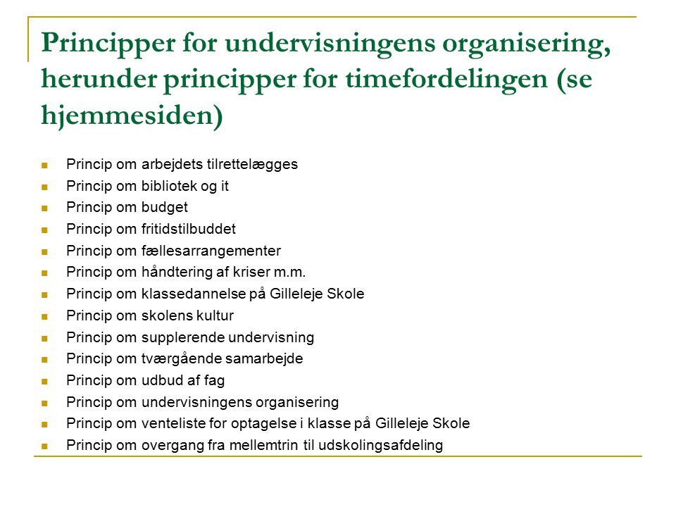 Principper for undervisningens organisering, herunder principper for timefordelingen (se hjemmesiden)