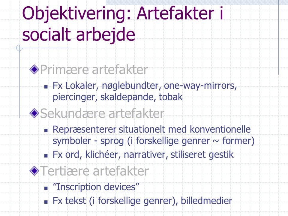 Objektivering: Artefakter i socialt arbejde