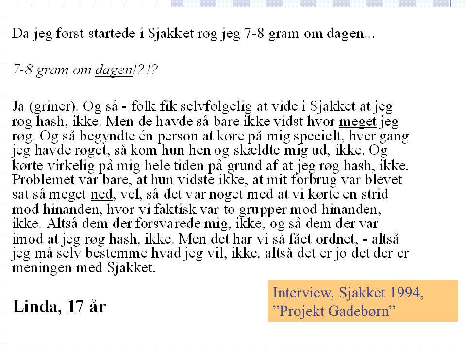 Interview, Sjakket 1994, Projekt Gadebørn