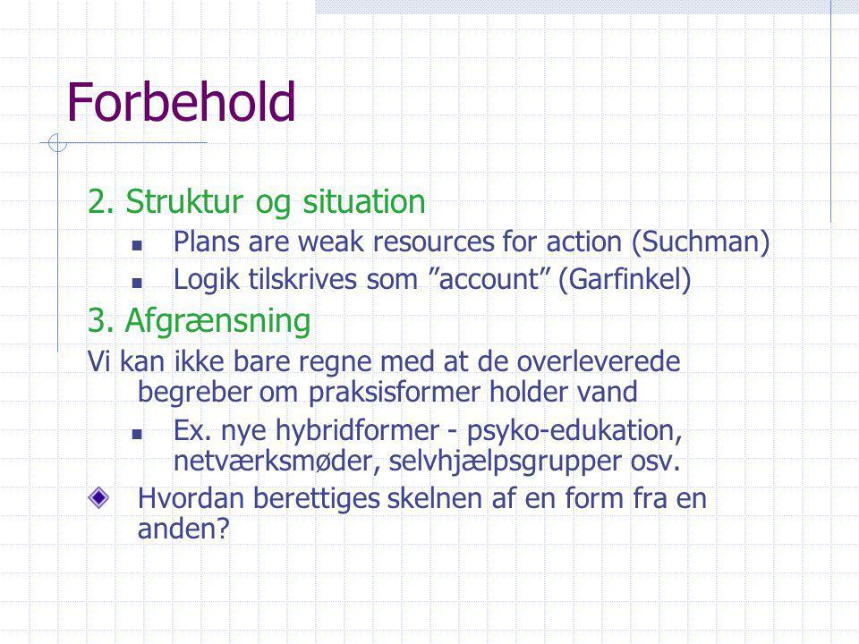 Forbehold 2. Struktur og situation 3. Afgrænsning