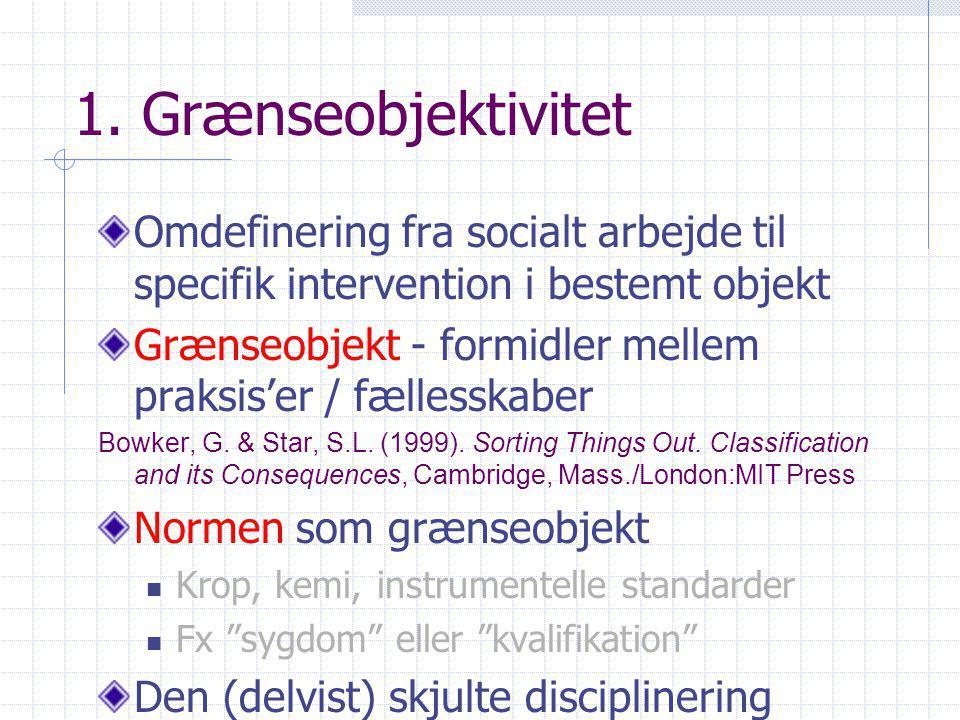 1. Grænseobjektivitet Omdefinering fra socialt arbejde til specifik intervention i bestemt objekt.