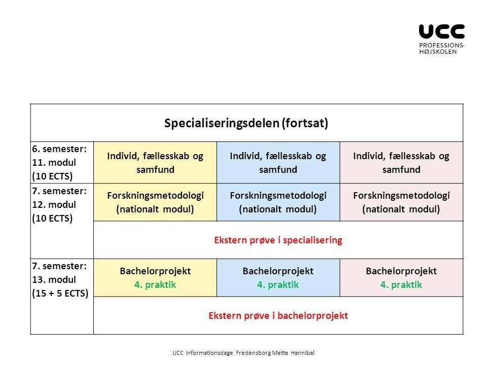 Specialiseringsdelen (fortsat)