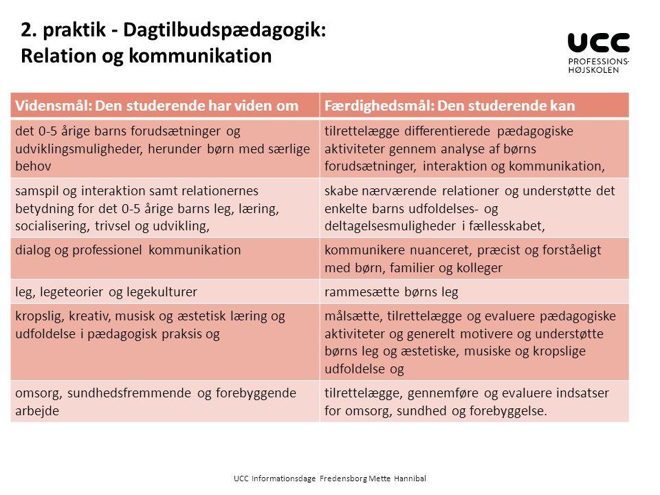 2. praktik - Dagtilbudspædagogik: Relation og kommunikation