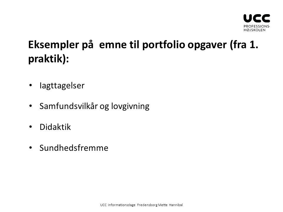 Eksempler på emne til portfolio opgaver (fra 1. praktik):