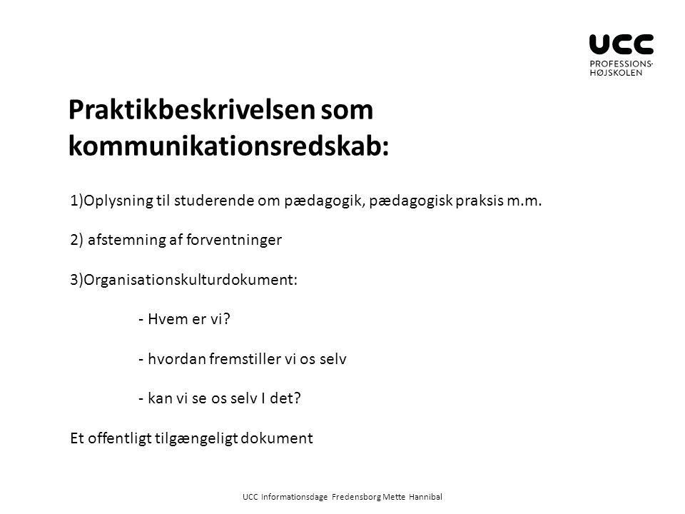 Praktikbeskrivelsen som kommunikationsredskab:
