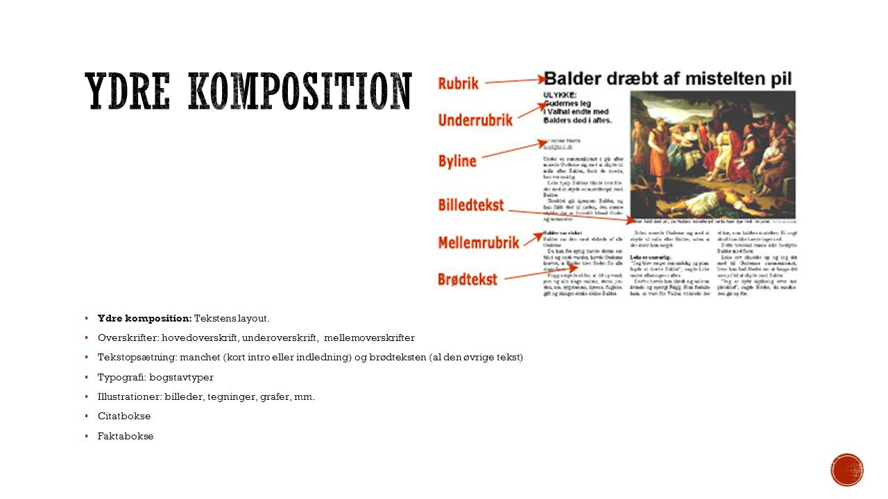 Ydre komposition Ydre komposition: Tekstens layout.