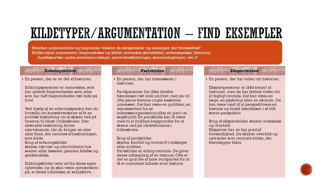 Kildetyper/argumentation – find eksempler