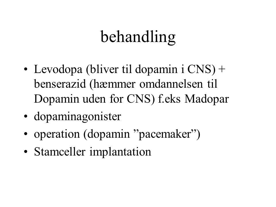 behandling Levodopa (bliver til dopamin i CNS) + benserazid (hæmmer omdannelsen til Dopamin uden for CNS) f.eks Madopar.