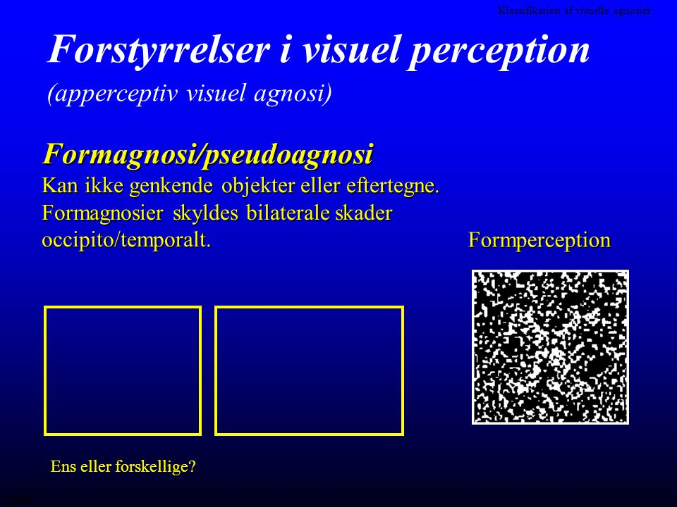 Forstyrrelser i visuel perception (apperceptiv visuel agnosi)