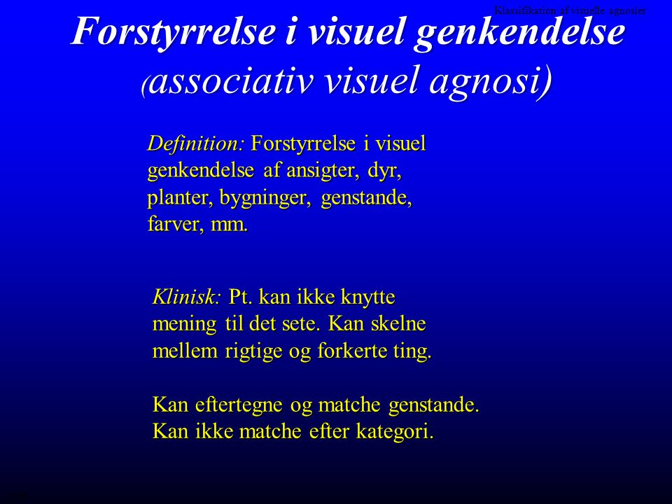 Forstyrrelse i visuel genkendelse (associativ visuel agnosi)