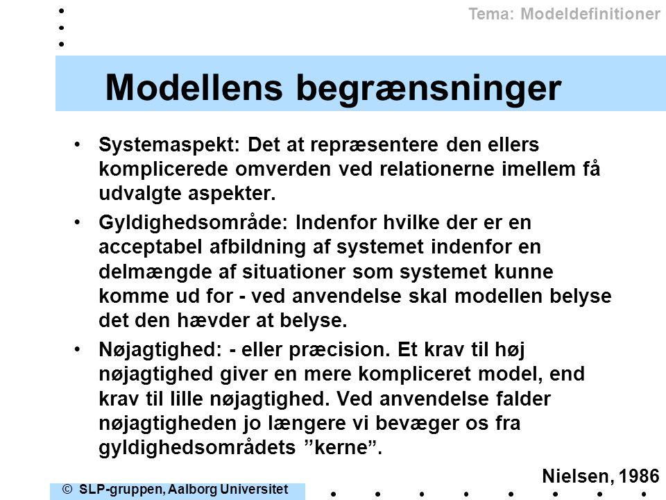 Modellens begrænsninger