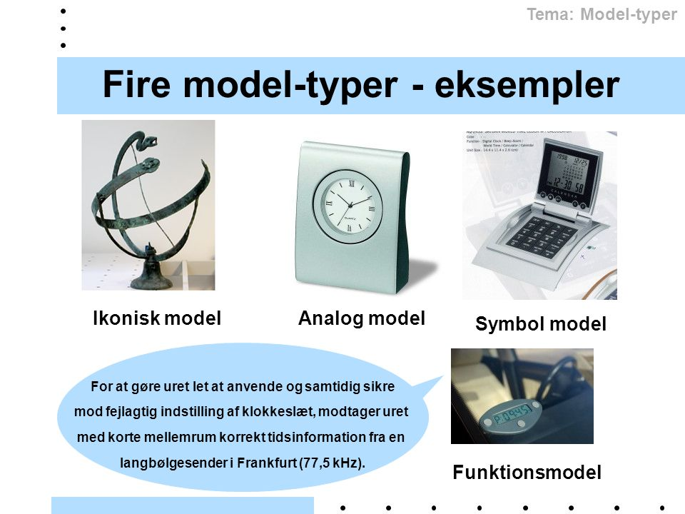 Fire model-typer - eksempler